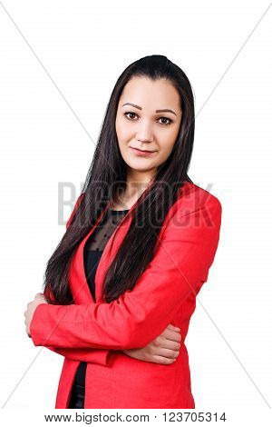 Young  beautiful woman with crossed hands isolated on white background