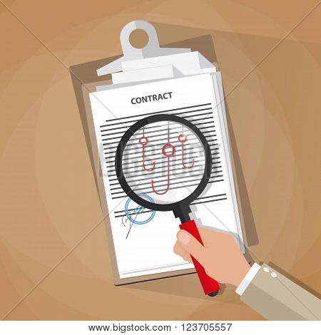 Cartoon businessman hand checking contract with a magnifying glass on a table before signing and see fishing hooks. Legal errors in contracts and agreements. Contract inspection concept. vector illustration in flat design on brown background