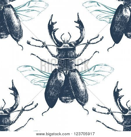Hand drawn seamless pattern with deer beetle