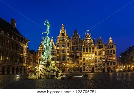ANTWERP/BELGIUM - MARCH 10, 2016: Guildhouses in Grote Markt (Big Market Square) in the old town at twilight.