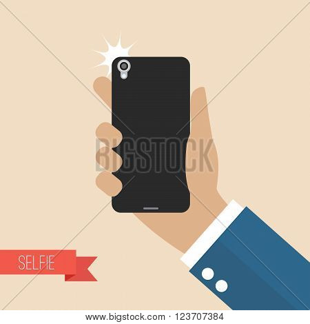 Hand taking selfie with smartphone. Flat style vector illustration