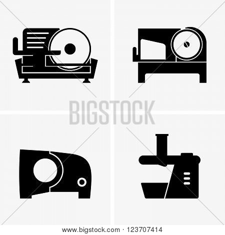 Set of four semi automatic meat slicers, shade pictures
