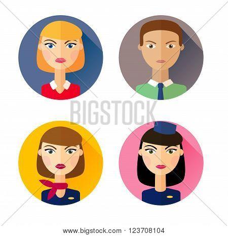 Stewardess. Set of flat style icons. Vector