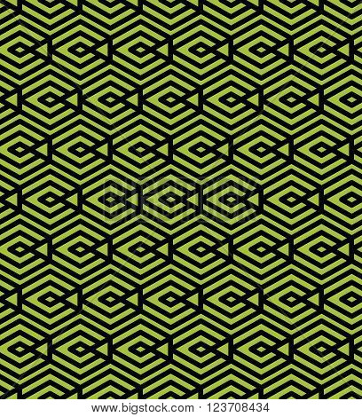 Green abstract seamless pattern with interweave lines. Vector ornament. Endless decorative background geometric tracery with rhombs.