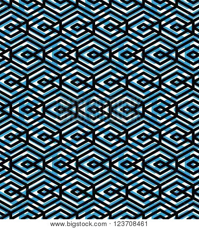 Blue abstract seamless pattern with interweave lines. Vector ornament. Endless decorative background visual effect geometric tracery with rhombs.