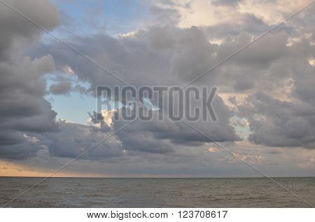 Landscape, Cloudy Sky over the Winter Black Sea, Russia