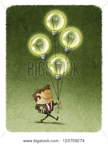 Illustration of smiling businessman with eyes closed walking with four flying illuminated bulbs.