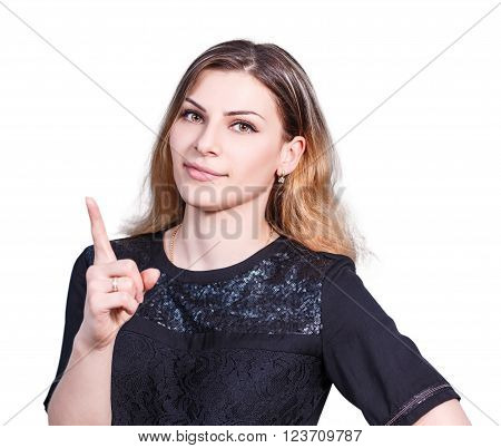 Young beautiful woman threaten finger isolated on white background