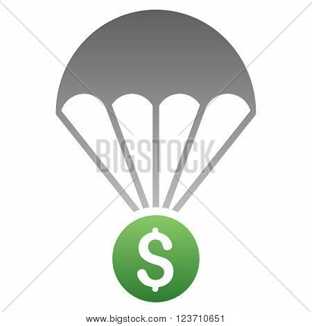 Financial Parachute vector toolbar icon for software design. Style is a gradient icon symbol on a white background.