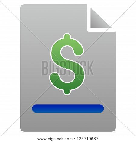 Invoice vector toolbar icon for software design. Style is a gradient icon symbol on a white background.