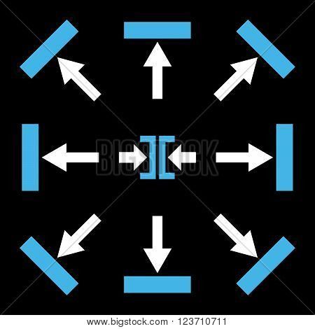 Push Directions vector icon set. Collection style is bicolor blue and white flat symbols on a black background. Push Directions icons.