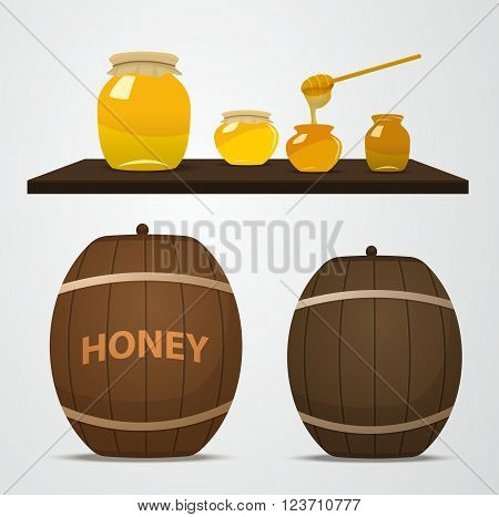 A set of barrels of honey for the apiary and cans that are on the shelf. Spoon dipped in a jar of honey. Yellow jars and brown barrels filled with honey in vector.