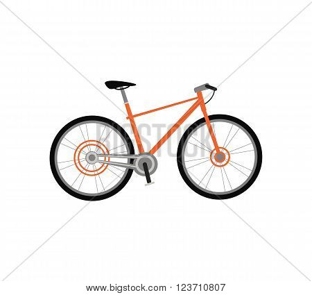 Bicycle icon design flat isolated. Bike and orange bycicle, cycling race sport. Mountain bicycle, travel bicycle vector illustration