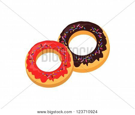 Donut logo. Sweet donuts design flat food. Doughnut isolated, cake bakery, dessert menu, snack pastry, tasty. Donuts shop icon. Vector illustration