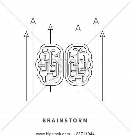 Brainstorm design concept. Brain idea thinking, mind map, creative innovation, brain icon power, business brainstorming, strategy brainstorm process thin line