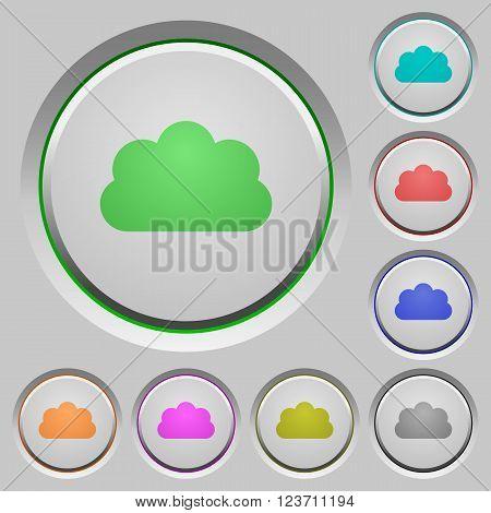Set of color cloud sunk push buttons.