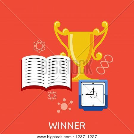 Winner concept goblet design flat. Award trophy winner success and victory and prize, competition sport winner game, goblet gold, reward and achievement vector illustration