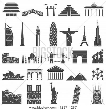 World landmarks outline icons, abstract vector set