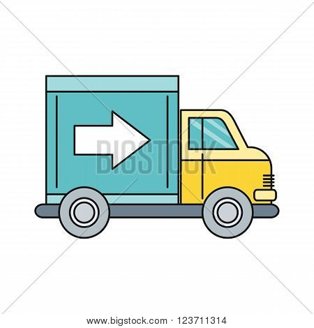 Delivery lorry driving fast design. Deliver auto, car and delivery van, truck lorry icon, shipping business, cargo vehicle transport, service transportation vector illustration
