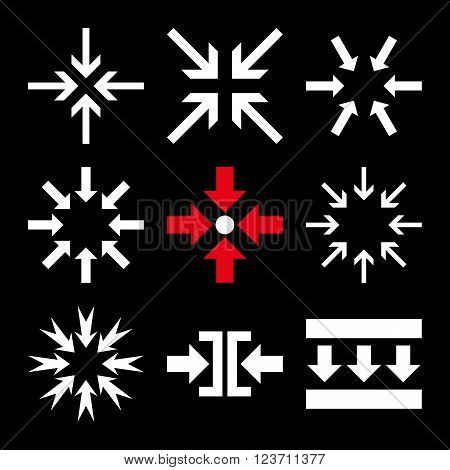 Minimize Arrows vector icon set. Collection style is bicolor red and white flat symbols on a black background. Minimize Arrows icons.