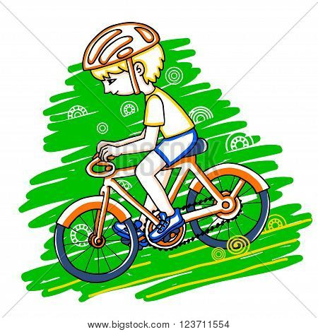 Edit boy on a bicycle color vector drawing. Healthy lifestyle background.
