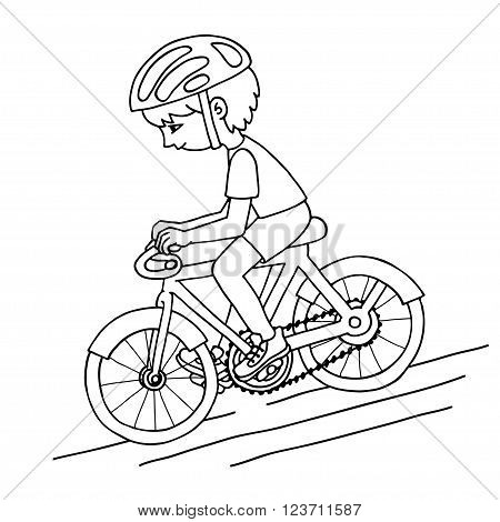 Edit boy on a bicycle contur vector drawing. Healthy lifestyle background.