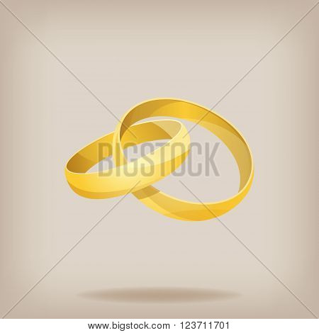 Pair of gold wedding rings. Vector illustration EPS10