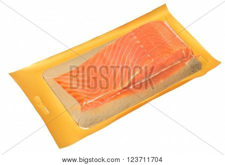 packed red fish isolated on white background