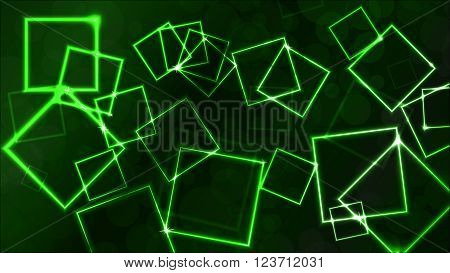 Vector green background with plasmatic effect and squares
