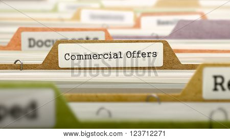 Commercial Offers Concept on Folder Register in Multicolor Card Index. Closeup View. Selective Focus. 3D Render.