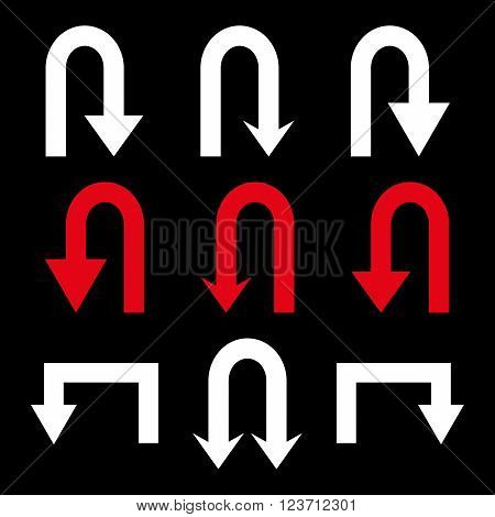 Turn Back Arrows vector icon set. Collection style is bicolor red and white flat symbols on a black background. Turn Back Arrows icons.