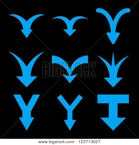 Join Arrows Down vector icon set. Collection style is blue flat symbols on a black background. Join Arrows Down icons.