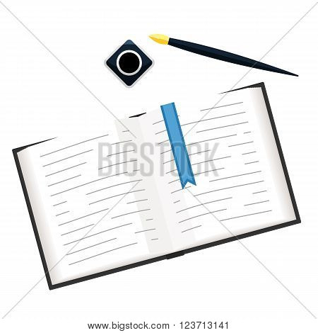 Open book with a blue bookmark ribbon, ink and gold pen. Concept sign isoleted on white background: writer, poet, training, line notes. Editable vector illustration of top view in flat modern design style