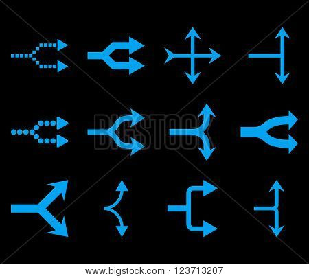Junction Arrows Right vector icon set. Collection style is blue flat symbols on a black background. Junction Arrows Right icons.