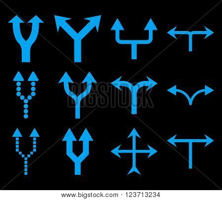 Junction Arrows Up vector icon set. Collection style is blue flat symbols on a black background. Junction Arrows Up icons.