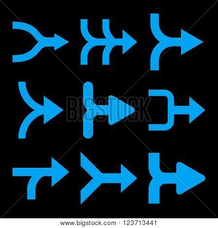 Merge Arrows Right vector icon set. Collection style is blue flat symbols on a black background. Merge Arrows Right icons.