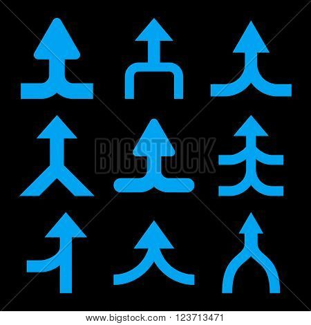 Merge Arrows Up vector icon set. Collection style is blue flat symbols on a black background. Merge Arrows Up icons.