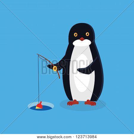 Animal penguin design flat. Bird penguin vector, cartoon polar animal winter isolated, wild penguin character fishing with a fishing rod illustration