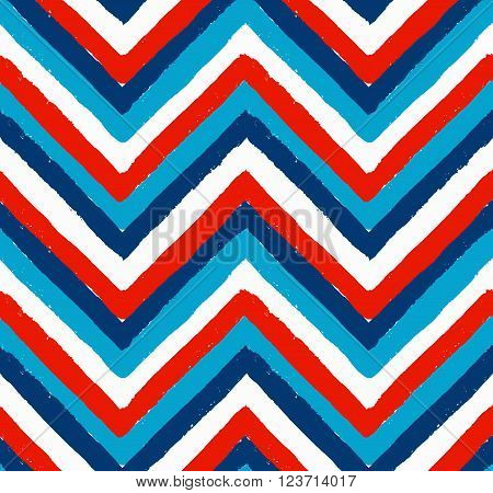 Vector Chevron Seamless Pattern. Painted background, zigzag brush strokes composition. White, red and blue vector chevron pattern. Painted texture vector.