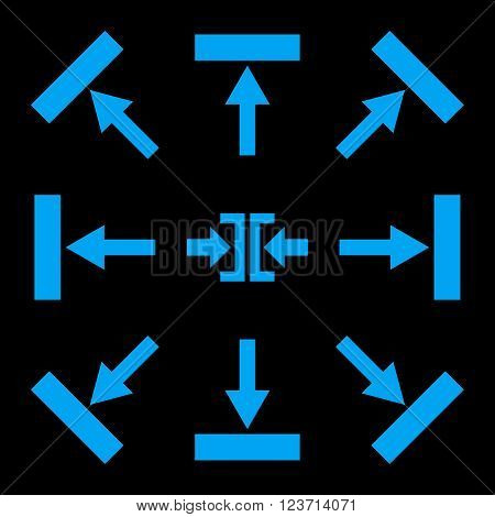 Push Directions vector icon set. Collection style is blue flat symbols on a black background. Push Directions icons.