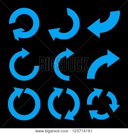 Rotate Clockwise vector icon set. Collection style is blue flat symbols on a black background. Rotate Clockwise icons.