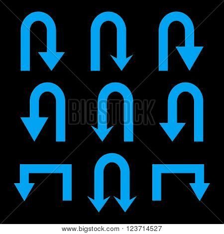 Turn Back Arrows vector icon set. Collection style is blue flat symbols on a black background. Turn Back Arrows icons.