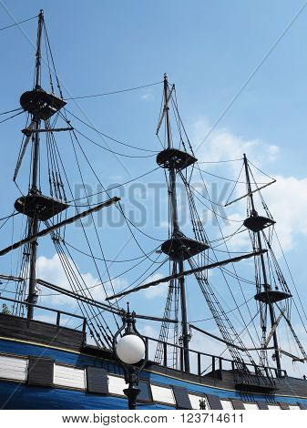 masts and rigging of a old sailing ship over blue sky background