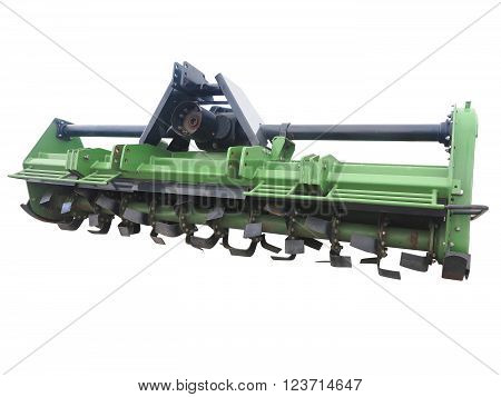 Green New Farm Cultivator Plow For Tractors Isolated Over White