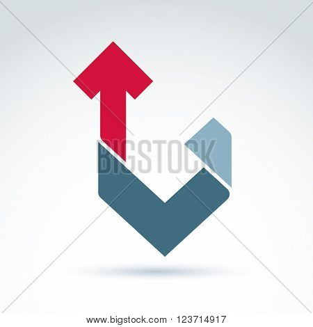 Vector conceptual corporate design element. Abstract geometric symbol checkmark and red up arrow infographics icon.