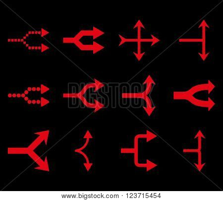 Junction Arrows Right vector icon set. Collection style is red flat symbols on a black background. Junction Arrows Right icons.