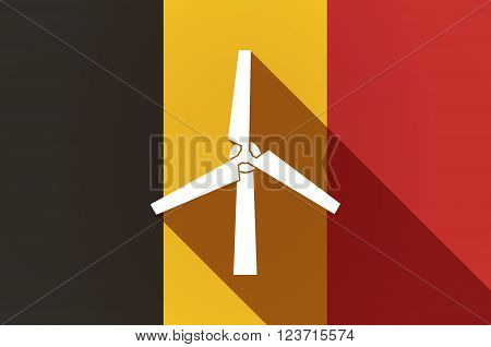 Long Shadow Belgium Flag With A Wind Generator