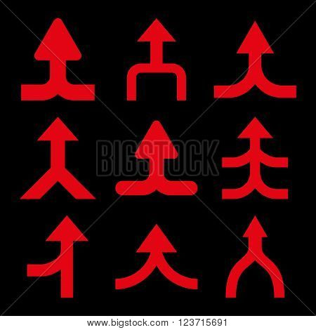 Merge Arrows Up vector icon set. Collection style is red flat symbols on a black background. Merge Arrows Up icons.