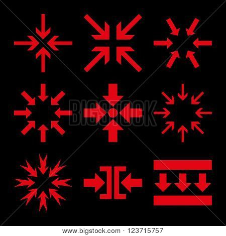 Minimize Arrows vector icon set. Collection style is red flat symbols on a black background. Minimize Arrows icons.