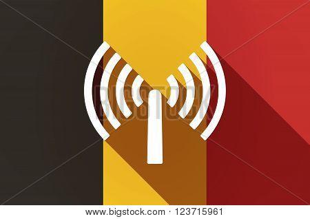 Long Shadow Belgium Flag With An Antenna